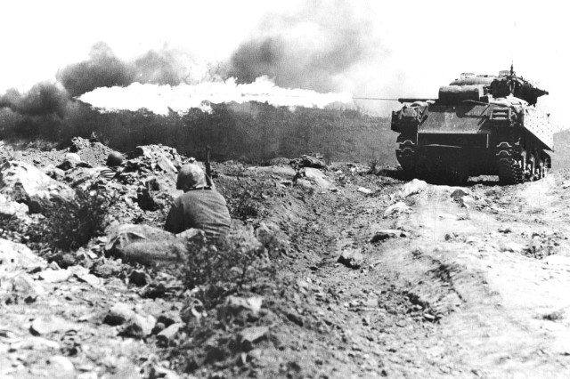 The Sherman tank was used extensively by U.S. and Allied forces during World War II and became the longest actively operated tank in history.