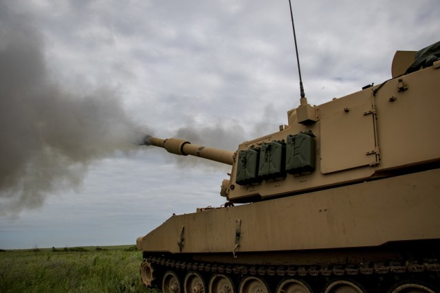Georgia Army National Guardsmen with the Elberton based 1st Battalion, 214th Field Artillery Regiment conduct fire support missions during Operation Big Bow, a National Guard brigade artillery exercise featuring Guardsmen from Kansas, Missouri and Georgia at Fort Riley, Kan., on June 11, 2019.  The battalion conducted three weeks of active duty training focused on combined fire capability with other National Guard units.U.S. Army National Guard photo by Sgt. 1st Class R.J. Lannom Jr.