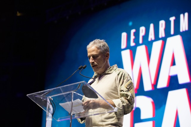 Comedian Jon Stewart gives a speech during the opening ceremony at Amalie Arena in Tampa, Florida, June 22, 2019, during the 2019 Department of Defense Warrior Games. The DoD Warrior Games are conducted June 21-30, hosted by Special Operations Command, Tampa, Florida. It is an adaptive sports competiton for wounded, ill, and injured service members and veterans. Approximately 300 athletes, representing teams from the Army, Marine Corps, Navy, Air Force, Special Operations Command, United Kingdom Armed Forces, Australian Defense Force, Canadian Armed Forces, Armed Forces of the Netherlands, and the Danish Armed Forces will compete in archery, cycling, shooting, sitting volleyball, swimming, track, field, wheelchair basketball, indoor rowing, and powerlifting. (U.S. Army photo by Spc. Katelyn Strange)