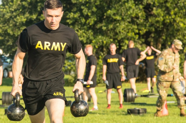 Sgt. Nicolas Branch, multichannel transmission systems operator-maintainer with 82nd Airborne Division, participates in the sprint-drag-carry portion of the Army Combat Fitness Test during the 2019 XVIII Airborne Corps Noncommissioned Officer and Soldier of the Year Competition at Fort Bragg, N.C. June 24, 2019. The competition places the best of the best against each other in the week-long competition. (U.S. Army Photo by Pfc. Joshua Cowden / 22nd Mobile Public Affairs Detachment)