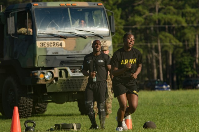 Sgt. Samara Jones with the 525th Military Intelligence Brigade completes the sprint-drag-carry event as part of the 2019 XVIII Airborne Corps Noncommissioned Officer and Soldier of the Year competition June 24, 2019 at Fort Bragg, N.C. The sprint-drag-carry event is the fourth event in the new Army Combat Fitness Test.  (U.S. Army photo by Pfc. Nathaniel Gayle, 22nd Mobile Public Affairs Detachment)