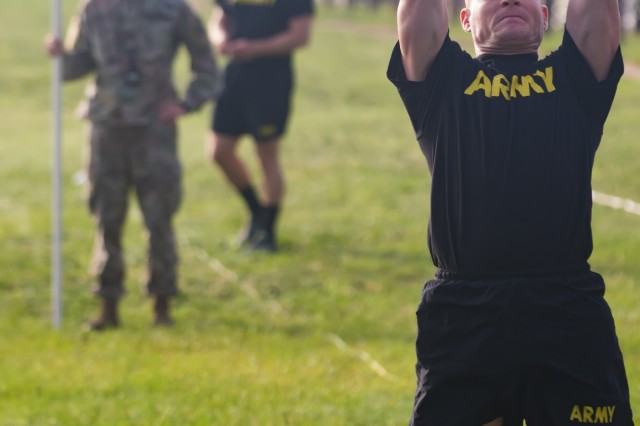 A U.S. Army Soldier completes the standing power throw while competing in the 2019 XVIII Airborne Corps Noncommissioned Officer and Soldier of the Year competition June 24, 2019 at Fort Bragg, N.C. The competition promotes esprit de corps and challenges Soldiers to their limits.  (U.S. Army photo by Pfc. Nathaniel Gayle, 22nd Mobile Public Affairs Detachment)