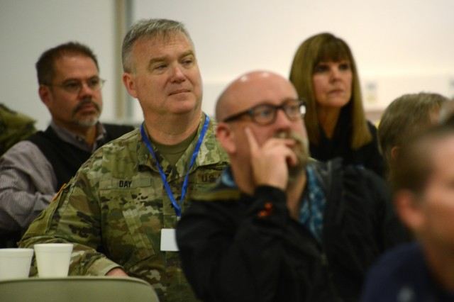 Oregon Army National Guard Brig. Gen. Gregory T. Day listens to remarks from officials during a briefing at Camp Rilea, Warrenton, Oregon, June 3, 2019. Brig. Gen. Day along with other military, civilian and first responders spent part of the day touring the U.S.S. Anchorage and watching LCAC (Landing Craft Air Cushion) landings near Warrenton, Oregon.