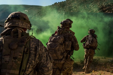 Army National Guard Infantrymen from the 116th Cavalry Brigade Combat Team seize a town from the enemy, June 7, 2019, at the National Training Center in Fort Irwin, California. Seizing the key terrain enabled the 116th CBCT to maneuver pass the previously contested area.