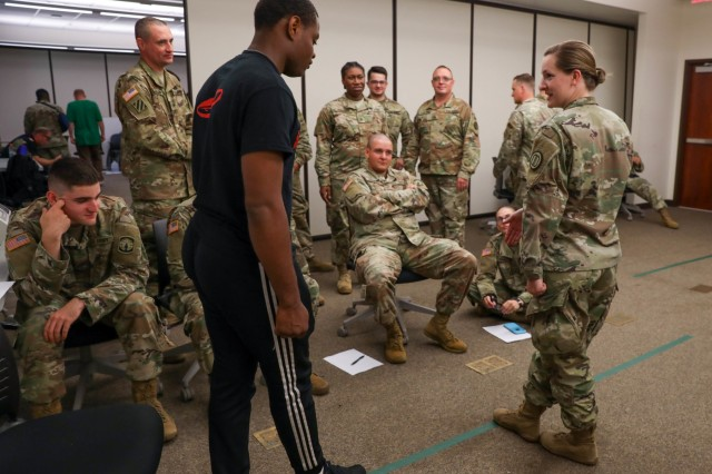 Soldiers of the 152nd Military Police Company, 203rd Military Battalion, Alabama National Guard, participate in Standard Field Sobriety Test training held by the 716th Military Police Battalion, 101st Sustainment Brigade, 101st Airborne Division (Air Assault), on Fort Campbell, Ky., June 19, 2019. For two weeks, in June, Alabama National Guard MPs will be participating in a joint training exercise with the 716th MP Bn., in order to synchronize training standards, familiarize Soldiers with mission essential tasks and build relationships between active and National Guard counterparts. (U.S. Army photo by Staff Sergeant Caitlyn Byrne, 101st Sustainment Brigade)