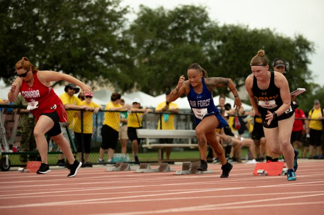 U.S. Army retired Spc. Angela Euson competes during the track competition, June 22, 2019, during the 2019 Department of Defense Warrior Games in Tampa, Florida. Approximately 300 athletes representing teams from the Army, Marine Corps, Navy, Air Force, Special Operations Command, United Kingdom Armed Forces, Australian Defence Force, Canadian Armed Forces, Armed Forces of the Netherlands, and the Danish Armed Forces are participating in 13 events throughout the competition. (U.S. Army photo by Staff Sgt. Michael Loggins)