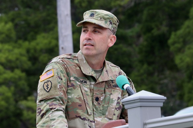 California Medical Detachment's new commander, Lt. Col. (Dr.) Zack Solomon, addresses the civilian and military formations on Soldier Field during the unit's change of command ceremony in Monterey, Calif., on June 20.
