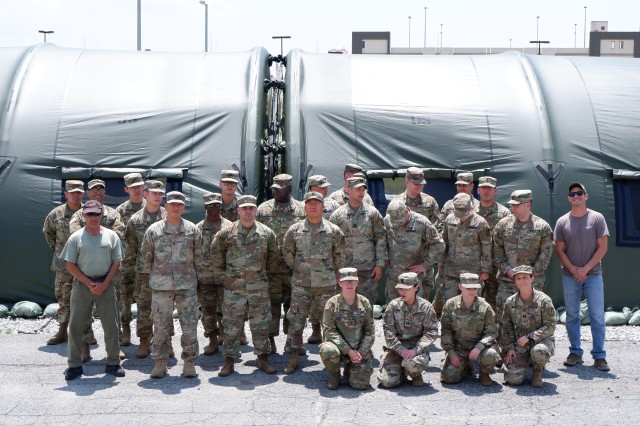 Soldiers from Alpha and Bravo Company participated in an air-supported TEMPER tent training at the medical support compound on U.S. Army Garrison Humphreys.  Two subject matter expert instructors taught the Soldiers for the four day duration.