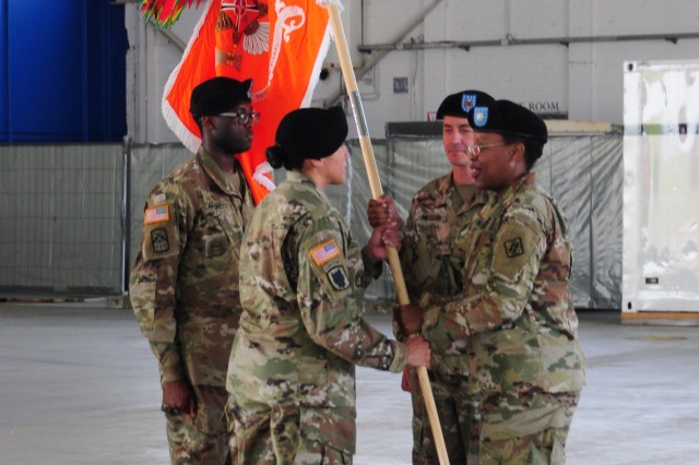 Army Command Sgt. Maj. Carolyn Turell assumed responsibility of the 39th Strategic Signal Battalion after receiving the unit colors from Army Lt. Col. Ericka Brooks, 39th Strategic Signal Battalion commander, during a ceremony June 25, 2019, at Chievres Air Base, Belgium. Turell replaced Command Sgt. Maj. Timothy McGuire whose follow-on assignment is to be the Chief Signal NCO G6 U.S. Army Forces Command at Fort Bragg, North Carolina.