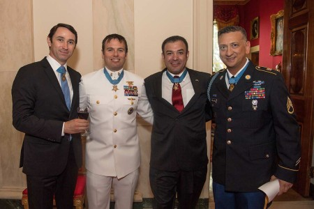 Staff Sgt. David G. Bellavia joins other Medal of Honor recipients, (from left to right) Capt. William Swenson, Master Chief Edward Byers Jr., and Sgt. 1st Class Leroy Petry at the White House, Washington, D.C., June 25, 2019. Bellavia was awarded the Medal of Honor for actions while serving as a squad leader with the 1st Infantry Division in support of Operation Phantom Fury in Fallujah, Iraq when a squad from his platoon became trapped by intense enemy fire.