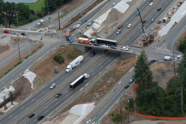 The first set of bridge girders for the new Thorne Lane overpasses over Interstate 5 will be erected starting at 10:30 p.m. June 28.  Both directions of I-5 will close forcing traffic to take the Thorne Lane exits to leave and then reenter the mainline.