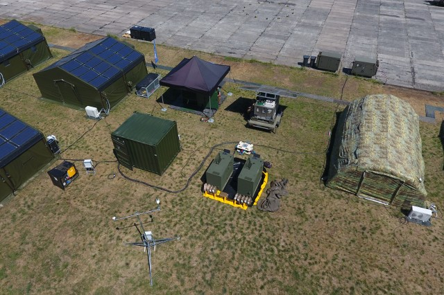 View of several types of multinational power systems during Capable Logistician 2019 in June 2019 at Drawsko Pomorskie Training Grounds, Poland.