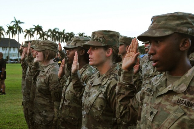 U.S. Army Pacific Soldiers take part in a mass reenlistment ceremony earlier this month conducted by by Gen. Robert Brown, USARPAC commanding general. Those who reenlisted totaled more than 200 combined years of service commitment. New academic and credentialing programs could convince even more Soldiers to choose reenlistment, Sgt. Maj. of the Army Daniel Dailey said June 26, 2019.
