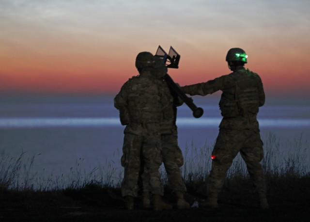US troops demonstrate night air defense artillery capabilities during Tobruq Legacy