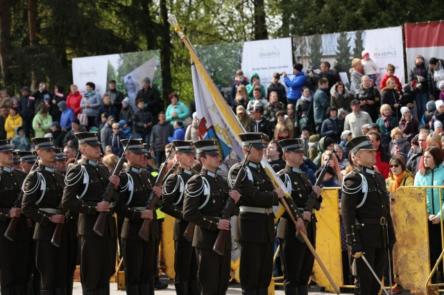 Soldiers from various countries march during the traditional regional military parade of May 4 in Jekabpils, Latvia, on May 4, 2019. Latvia hosts a parade in celebration of the Latvian War for Independence and their Armed Forces in a different town every year due to the importance of the holiday. (U.S. Army photo by Sgt. Kyle Larsen)