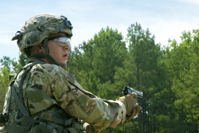 Spc. Nathan Brittain assigned to the 18th Field Artillery Brigade stands ready to engage pop-up targets downrange during the 2019 XVIII Airborne Corps Noncomissioned Officer and Soldier of the Year Competition June 26, 2019 on Fort Bragg, N.C. The NCO and Soldier of the Year Competition is a week-long event full of challenging Soldier competency activities. (U.S. Army photo by Pfc. Nathaniel Gayle, 22nd Mobile Public Affairs Detachment)