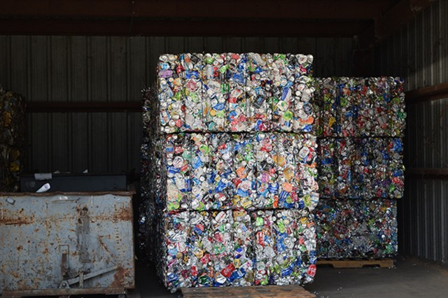 Aluminum cans, compressed and packed into large cubes, stand ready to be sold and shipped from the Stewart Recycling Center, June 24 on Fort Stewart.  (U.S. Army photo by Takia Murray)