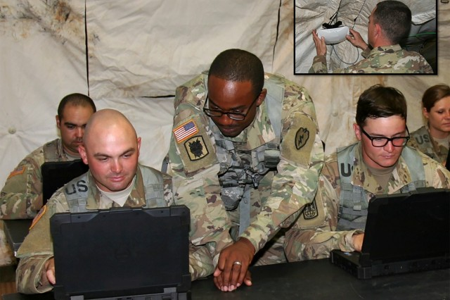 Soldiers from the 2nd Brigade Combat Team, 25th Infantry Division support a Secure Wi-Fi risk reduction event in August 2016. Using the Secure Wi-Fi capability instead of cabling reduces the time it takes to set up and tear down a command post from hours to minutes, increasing maneuverability and operational flexibility. (U.S. Army photo by Amy Walker, PM Tactical Network/PEO C3T Public Affairs)