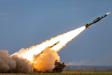 A 2K12 Kub mobile surface-to-air missile system fires during the multinational live-fire training exercise Shabla 19, in Shabla, Bulgaria, June 12, 2019. Shabla 19 is designed to improve readiness and interoperability between the Bulgarian Air Force,...