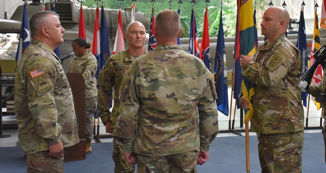 Members of the U.S. Army Combat Readiness Center welcomed Command Sgt. Maj. William L. Gardner and celebrated the leadership of Command Sgt. Maj. Ernest D. Bowen Jr. in a change of responsibility cere