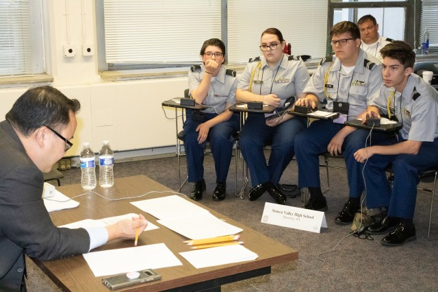 JROTC Cadets from Seneca Valley High School, Harmony, Pennsylvania, compete in academic portion of the JROTC Leadership and Academic Bowl at the Catholic University of America June 22.