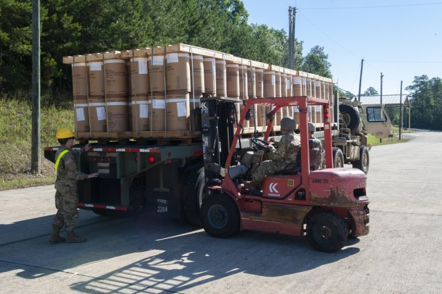 The 266th Ordnance Company out of Puerto Rico transports and stores munitions in the Anniston Munitions Center's igloos at Anniston Army Depot. The receipt and storage mission is part of Patriot Bandoleer 2019, a training mission enhancing the readiness of Army forces by pairing Reserve Component units with munitions centers which can utilize their transportation and ordnance experience.