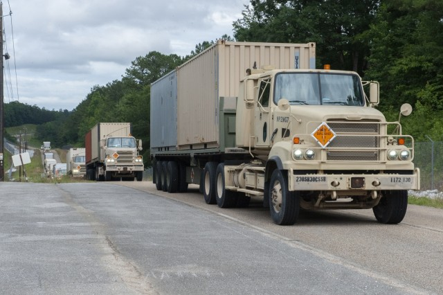 The 432nd Transportation Company from 1st Mission Command in Puerto Rico transports munitions to Anniston Munitions Center as part of Patriot Bandoleer.