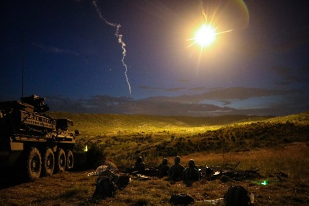 Soldiers from 111th Infantry, 56th Stryker Brigade Combat Team, conduct a night live-fire iteration of a combined arms live-fire exercise during Exercise Decisive Strike 2019 at the Training Support Centre, Krivolak, North Macedonia, June 11, 2019. C...