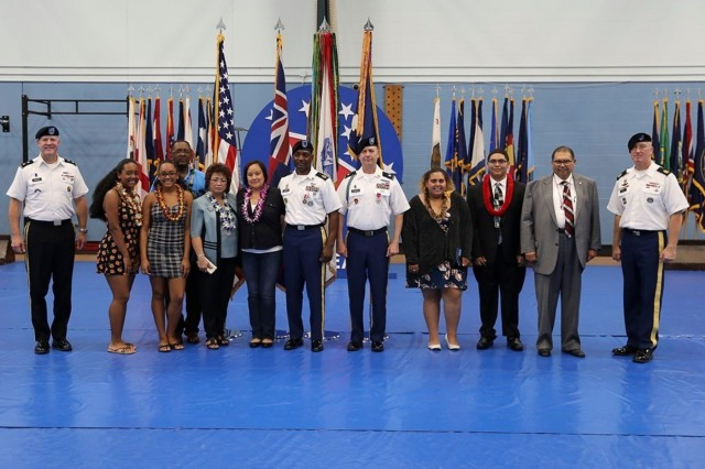 U.S. Army Pacific held a Celebration of Service ceremony, June 26, 2019, on Fort Shafter, Hawaii. Fellow Soldiers, family, and friends gathered to pay tribute to the USARPAC Soldiers as they prepare to retire from the service.Maj. Gen. John Johnson, USARPAC deputy commanding general-south, was the host and said it was a privilege to be a part of the ceremony. The USARPAC retirees honored were: Lt. Col. Derrick Johnson, 1st Sgt. Bryon Dishmon, and Mr. Nayer M. Mahmoud.