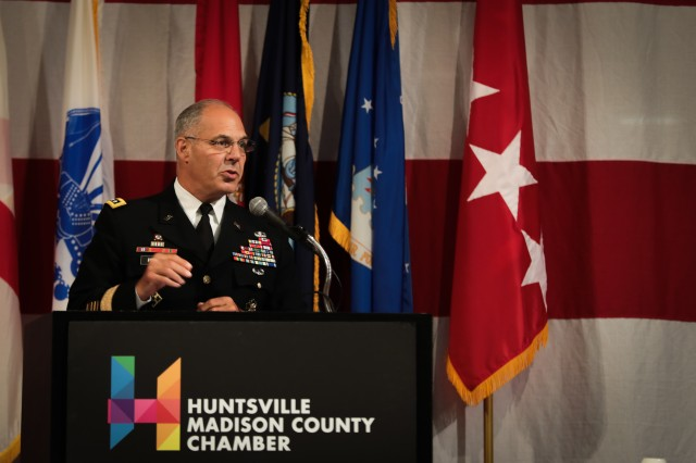 "Gen. Gus Perna, commander of Army Materiel Command, talks about the purpose of the nation's armed forces during the Armed Forces Celebration Week Luncheon in Huntsville, Ala., June 26, 2019. The event was hosted by the Huntsville/Madison County Chamber of Commerce during a week of events planned around the theme ""Honoring the Call to Service, Celebrating the 75th D-Day Anniversary."""