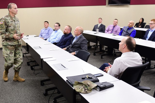 Col. Pat Kaune, Fort Knox Garrison commander, speaks to graduates, families and sponsors of the latest Career Skills Program at the installation's Palma Hall June 28, 2019. Ten graduated with many of them already signing contracts with area corporations.