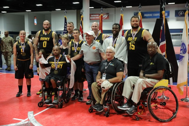 Team Army wins the bronze medal in wheelchair basketball, June 28, 2019, at Tampa Convention Center during the 2019 Department of Defense Warrior Games. The DoD Warrior Games are conducted June 21 - 30, hosted by Special Operations Command, Tampa, Florida. It is an adaptive sports competition for wounded, ill, and injured service members and veterans. Approximately 300 athletes representing teams from the Army, Marine Corps, Navy, Air Force, Special Operations Command, United Kingdom Armed Forces, Australian Defence Force, Canadian Armed Forces, Armed Forces of the Netherlands, and the Danish Armed Forces will compete in archery, cycling, shooting, sitting volleyball, swimming, track, field, wheelchair basketball, indoor rowing, powerlifting, and for the first time in Warrior Games history, golf, wheelchair tennis, and wheelchair rugby.