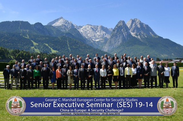 """GARMISCH-PARTENKIRCHEN, Germany -- Sixty-five senior government officials from 36 countries attend the George C. Marshall European Center for Security Studies' annual Senior Executive Seminar, titled """"China in Europe: A Security Challenge?,"""" here June 24 to 28. (DOD photo by Karl-Heinz Wedhorn/RELEASED)"""
