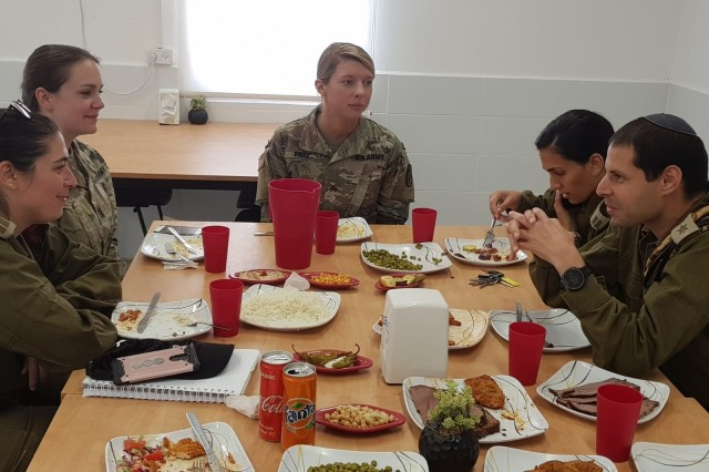 Lunch with 47th Infantry Battalion Commander; the group had an informal discussion of challenges of the Dead Sea environment.