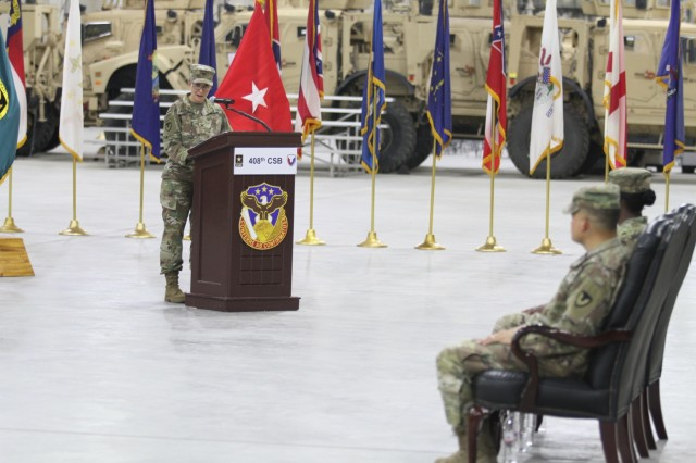 Colonel Christine A. Beeler, deputy to the commanding general for outside the continental United States for Army Contracting Command, addresses the audience during her speech at the change of command ceremony for the 408th Contracting Support Brigade June 27, 2019, at Camp Arifjan, Kuwait. During the ceremony, Col. Mary O.B. Drayton officially took command of the unit from Col. Ralph T. Borja.