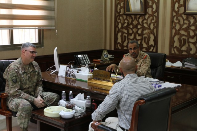 U.S. Army Brig. Gen. Clint E. Walker, deputy commanding general of 1st Theater Sustainment Command, conducts a key leadership engagement with Maj. Gen. Ali A. Al-Shanfa, Kuwait Armed Forces chief of staff for logistics and supply, at Kuwait City, Kuwait, June 26, 2019. They discussed upcoming U.S. Army leadership transitions as well as potential partner nation sustainment training opportunities.  (U.S. Army National Guard photo Sgt. Ashley Breland)