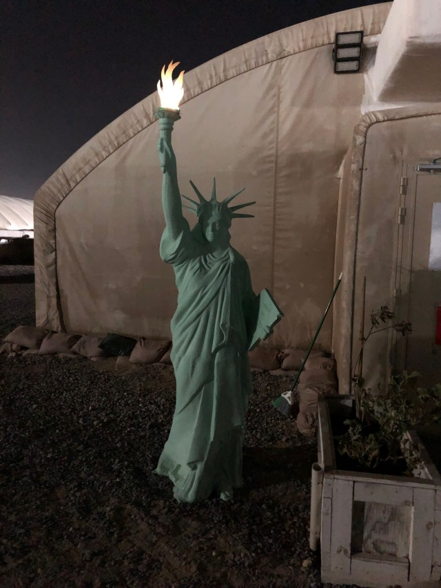 Lady Liberty Arrives at Camp Arifjan, Kuwait, Reunited With Her Soldiers