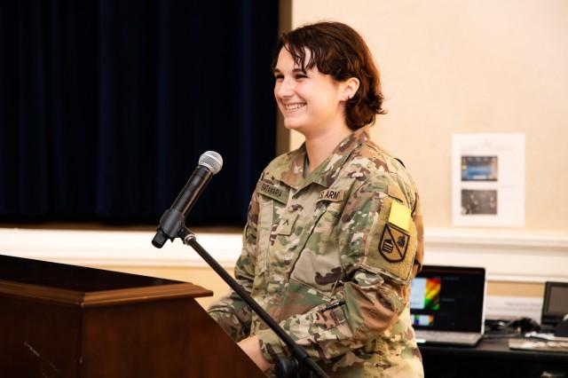 Pvt. Charlie Santamaria, 19, East-Long, Mi., speaks during an LGBT observance at the Presidio of Monterey, Thursday, June 27, 2019.