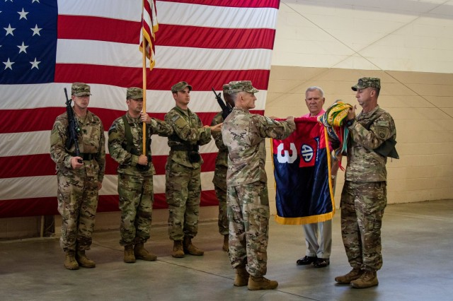 Col. Arthur Sellers, left, and Command Sgt. Maj. Reese Teakell, right, the commander and command sergeant major of the 3rd Brigade Combat Team, 82nd Airborne Division and Retired Command Sgt. Maj. Ted Gaweda case the brigade colors Sunday, June 30th at Fort Bragg's Pope Army Airfield.  The colors were cased in preparation for the brigade's continued deployment to Afghanistan in support of Operation Freedom's Sentinel.  Paratroopers of the brigade will conduct numerous operations in partnership with Afghan and international partners in the country on a scheduled deployment.