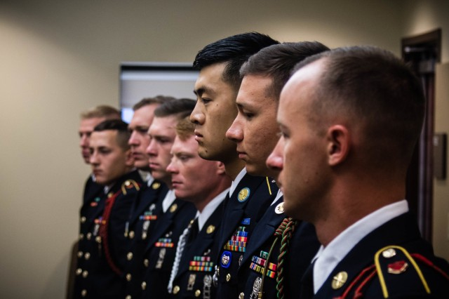 U.S. Army Soldiers participating in the 2019 XVIII Airborne Corps Noncommissioned Officer and Soldier of the Year Competition are briefed on the board portion of the competition at Fort Bragg, N.C. June 28, 2019. A board is a mental test to see which Soldier and NCO is equipped with the most knowledge on Army related material. (U.S. Army Photo by Pfc. Joshua Cowden / 22nd Mobile Public Affairs Detachment)