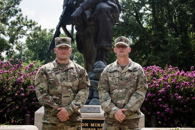 Spc. Nicholas Callahan (left), 44th Medical Brigade, and Staff Sgt. Matthew Whitney, 3rd Infantry Division, are the winners of the 2019 XVIII Airborne Corps Noncommissioned Officer and Soldier of the Year Competition held on Fort Bragg, N.C. June 28, 2019. The competition placed the best of the best against each other in a grueling week of mental and physical events. (U.S. Army Photo by Pfc. Joshua Cowden / 22nd Mobile Public Affairs Detachment)