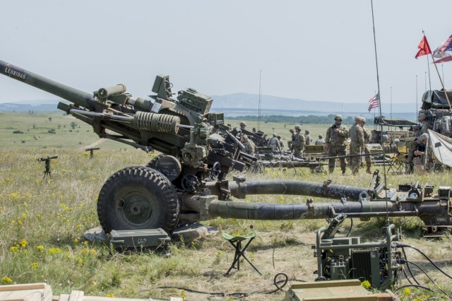 Soldiers with Batteries A and B, 1st Battalion, 134th Field Artillery Regiment, Ohio Army National Guard conduct live-fire artillery training with their M119A3 howitzers June 13, 2019, near Varpalota, Hungary. The units participated in BREAKTHROUGH 19, a Hungarian national training exercise that utilized multiple artillery systems from the Hungarian Defence Forces, U.S. Army Europe and Army National Guard units to create a collective capability that increases the interoperability and readiness of the participating militaries.