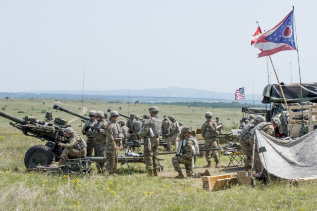 Soldiers with Battery A, 1st Battalion, 134th Field Artillery Regiment, Ohio Army National Guard conduct live-fire artillery training with their M119A3 howitzer June 13, 2019, near Varpalota, Hungary. The units participated in BREAKTHROUGH 19, a Hungarian national training exercise that utilized multiple artillery systems from the Hungarian Defence Forces, U.S. Army Europe and Army National Guard units to create a collective capability that increases the interoperability and readiness of the participating militaries.
