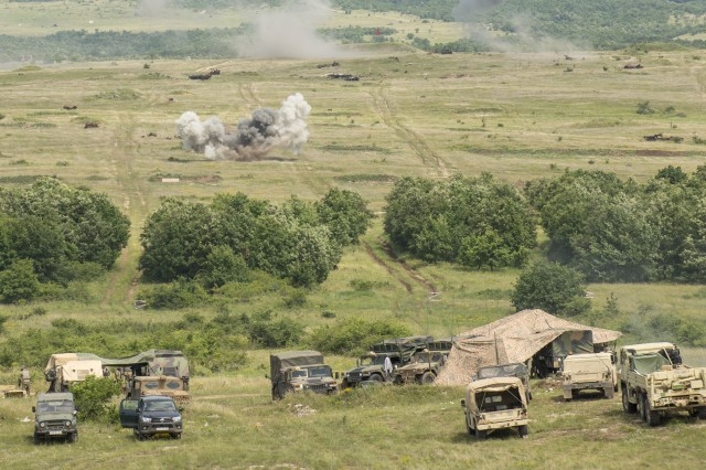Soldiers with Batteries A and B, 1st Battalion, 134th Field Artillery Regiment, Ohio Army National Guard conduct live-fire artillery June 12, 2019, near Varpalota, Hungary. The units participated in BREAKTHROUGH 19, a Hungarian national training exercise that utilized multiple artillery systems from the Hungarian Defence Forces, U.S. Army Europe and Army National Guard units to create a collective capability that increases the interoperability and readiness of the participating militaries.