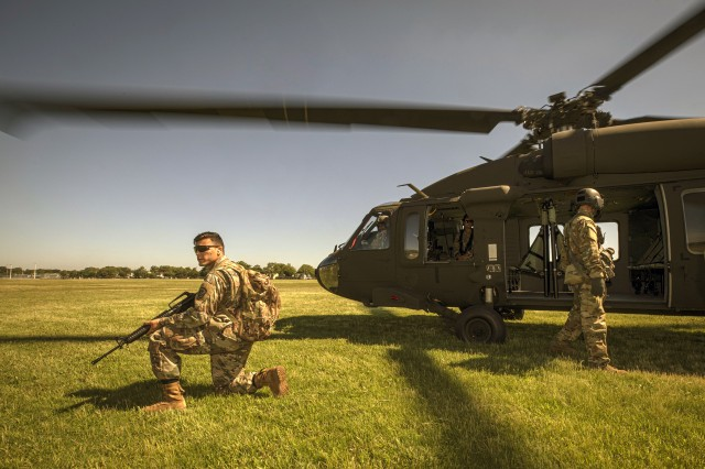 U.S. Army Pfc. Anthony Prado, with the 350th Finance Detachment, provides security during a financial management support team mission during Exercise Diamond Saber, the U.S. Army's largest finance exercise, basing operations out of the National Guard Training Center in Sea Girt, N.J. on June 26, 2019. Soldiers with 350th Finance Det. are participating in a first, remotely taking part in Diamond Saber, which is held annually at Fort McCoy, Wisconsin. Diamond Saber is designed to provide realistic technical training to regular Army, Army Reserve, and Army National Guard finance units.