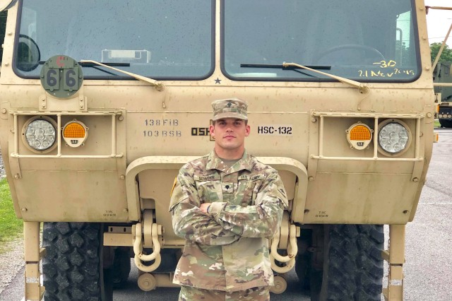 Spc. Ryan Sowder is an 88M truck driver for the 2112th Transportation Company based in Burlington, Ky. Sowder recently scored a 597 out of 600 points on the new Army Combat Fitness Test, which is the highest score to date across the force. (U.S. Army Courtesy photo)