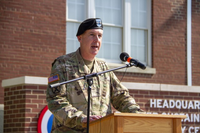 Maj. Gen. John P. Sullivan, commanding general, 1st Theater Sustainment Command (TSC), addresses the audience during his speech at the 1st TSC change of command ceremony held July 2, 2019 outside Fowler Hall at Fort Knox, Ky. (U.S. Army photo by Spc. Zoran Raduka)