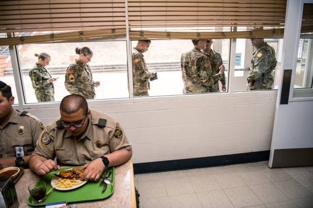 Border Patrol Explorers from Explorer Scout Post 1326, Chula Vista, Calif., eat lunch at the Presidio of Monterey, Monday, July 1, 2019. The Explorers are part of a cooperative program between the Boy Scouts and U.S. Customs and Border Patrol that gives 14 to 21-years-olds a hands-on opportunity to learn about federal law enforcement.