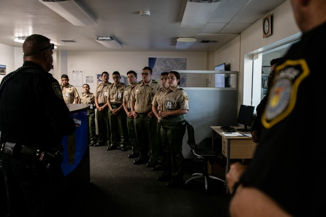 Border Patrol Explorers from Explorer Scout Post 1326, Chula Vista, Calif., visit a police station at the Presidio of Monterey, Monday, July 1, 2019. The Explorers are part of a cooperative program between the Boy Scouts and U.S. Customs and Border Patrol that gives 14 to 21-years-olds a hands-on opportunity to learn about federal law enforcement.