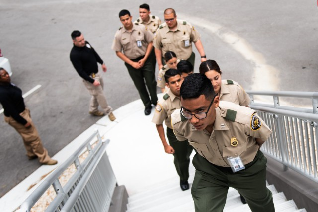 Border Patrol Explorers from Explorer Scout Post 1326, Chula Vista, Calif., visit a barracks at the Presidio of Monterey, Monday, July 1, 2019. The Explorers are part of a cooperative program between the Boy Scouts and U.S. Customs and Border Patrol that gives 14 to 21-years-olds a hands-on opportunity to learn about federal law enforcement.